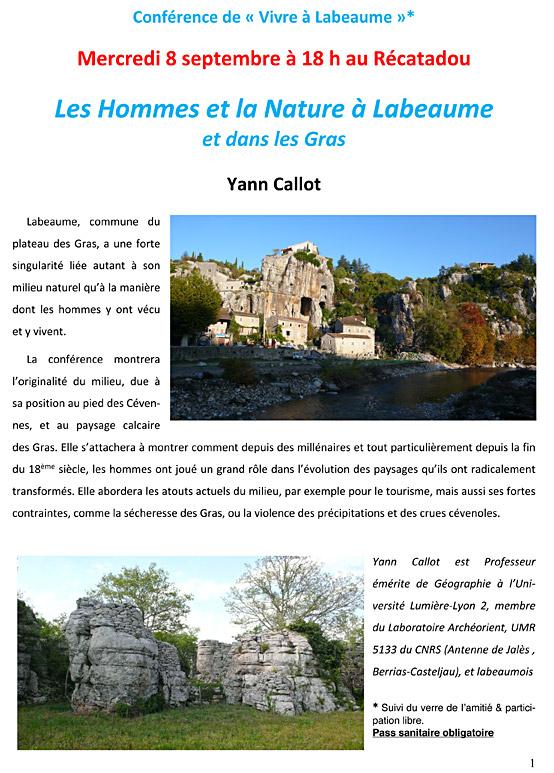 Conférence de « Vivre à Labeaume » Mercredi 8 septembre à 18 h au Récatadou Les Hommes et la Nature à Labeaume et dans les Gras